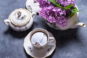Porcelain tea set decorated