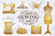 Retro sewing symbol