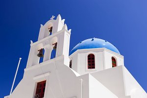 White church with blue dome, Greece