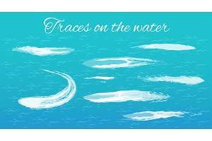 Traces on Water Headline, Vector Illustration