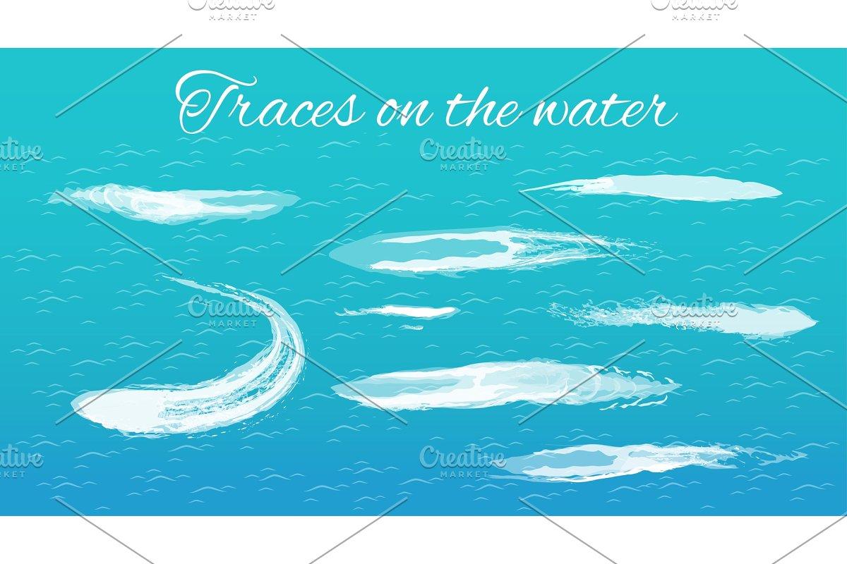 Traces on Water Headline, Vector Illustration