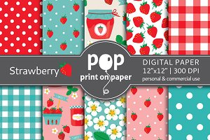 Strawberry - 10 digital papers