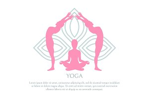 Yoga Abstract Lotus Pattern, Pink Silhouettes Set