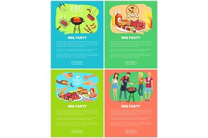 BBQ Party Set of Vector Illustrations, Meat Dishes
