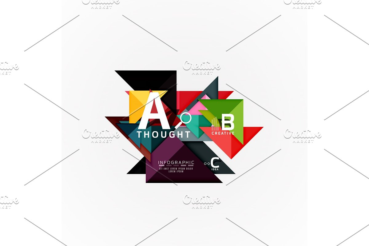 Paper infographic banner template with a b c options, infographics elements