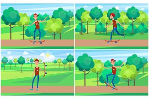Cheerful Skater in Green Summer Park, Color Banner