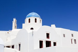 Buildings and church in Oia, Greece