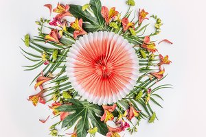 Tropical round flowers composition
