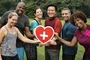 Diverse people with healthcare icon