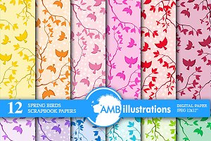 Spring Birds Digital Papers AMB-848