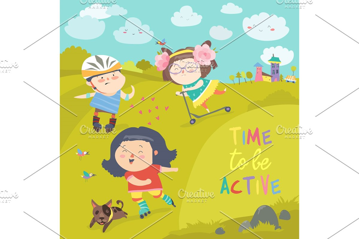 Cheerful active boys and girl having fun while riding kick scooter and roller skates in Illustrations - product preview 8