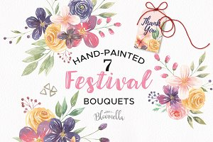 Festival Watercolor Clipart Bouquets