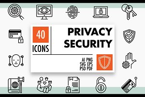 Privacy and Security GDPR Icons