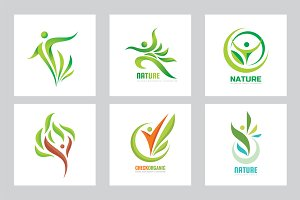 Nature Human Leaves - Vector Logo