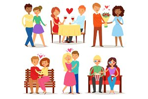 Couple in love vector lovers characters in lovely relationships on loving date together on Valentines day and boyfriend kissing loved girlfriend illustration hearted set isolated on white background