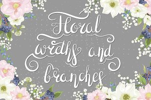 Flower wreaths and branches