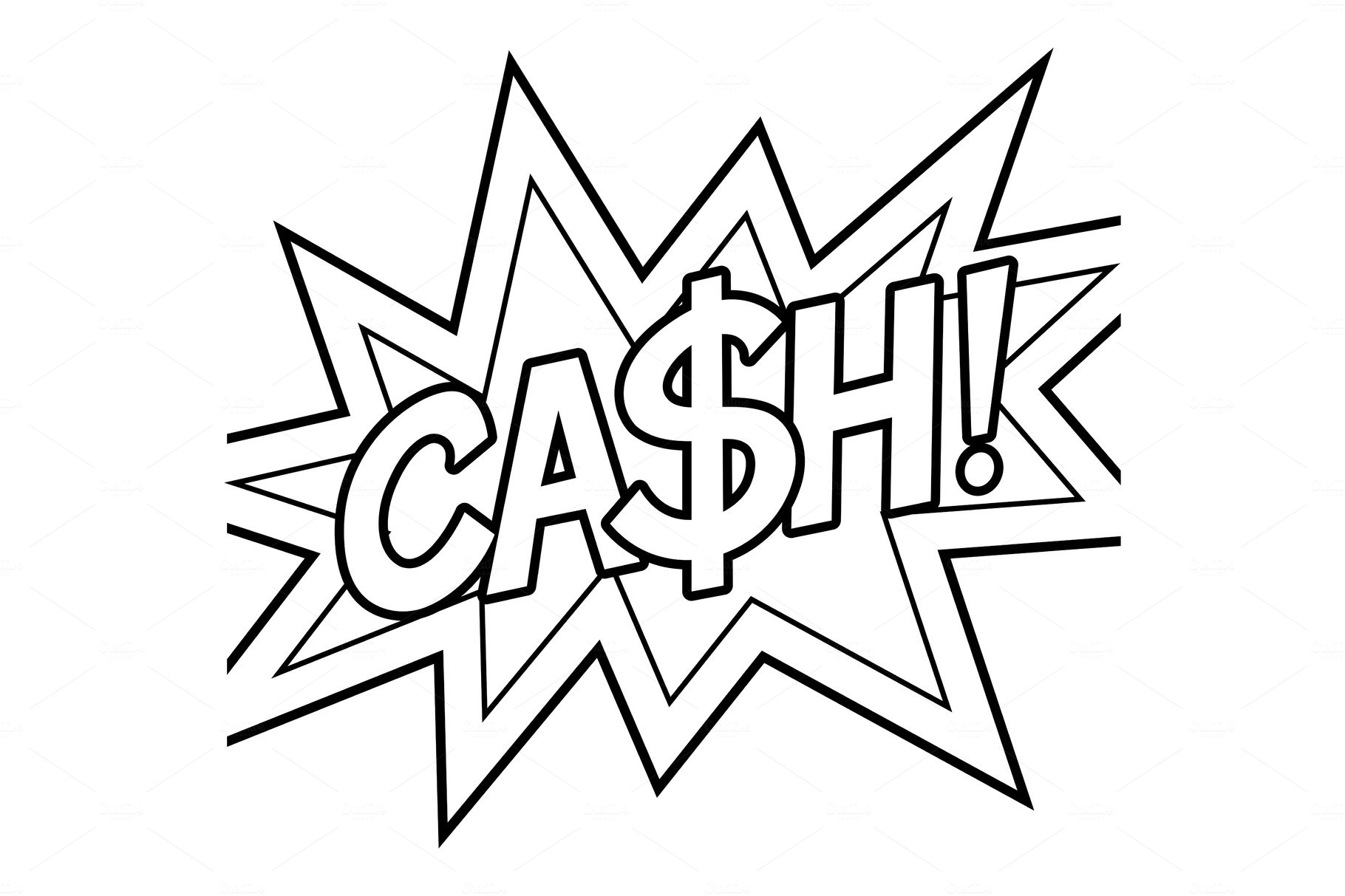 Cash word comic book coloring vector illustration