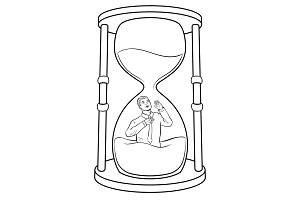 Sand watch glass with man coloring vector