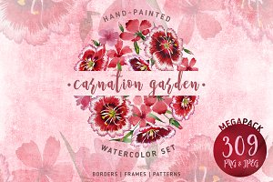 Carnation garden PNG watercolor set