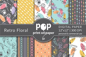 Retro Floral - 10 digital papers