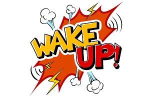 Wake up word comic book pop art vector