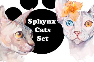 Watercolor Sphynx Cats Set