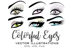 Colorful Eyes Vector Set