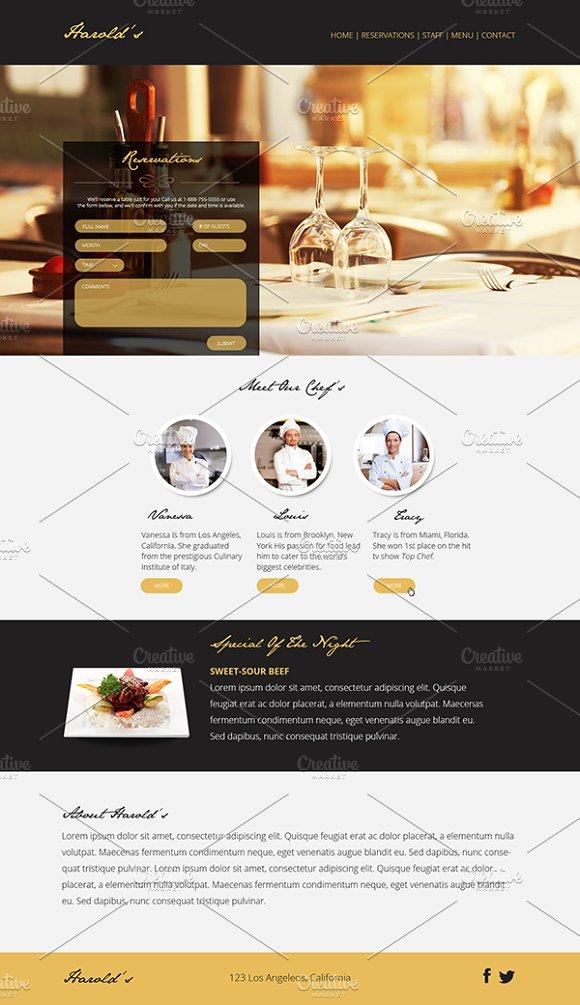 Elegant Restaurant One Page PSD