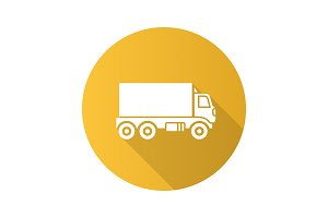 Delivery truck flat design long shadow glyph icon