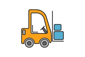 Forklift color icon