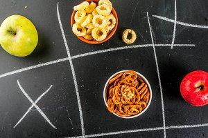 Healthy and unhealthy snack concept
