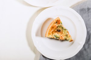 Classic smoked salmon and broccoli quiche