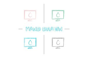 Computer display calibration hand drawn icons set
