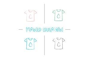 Printing on t-shirt hand drawn icons set