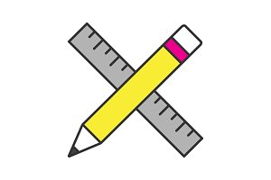 Ruler and pencil color icon