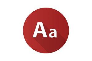 Font flat design long shadow glyph icon