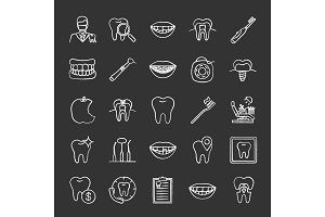 Dentistry chalk icons set