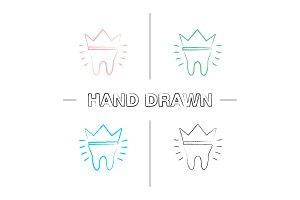 Dental crown hand drawn icons set