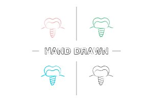 Dental implant hand drawn icons set