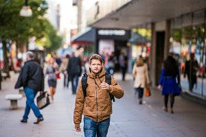 Hipster man walking in the streets of London