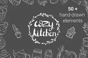 Cozy kitchen. Set of vector elements