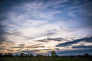 Beautiful evening sunset sky