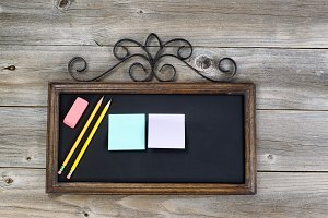Chalkboard with supplies