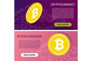Cryptocurrency concept banners