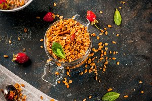 Homemade granola with milk