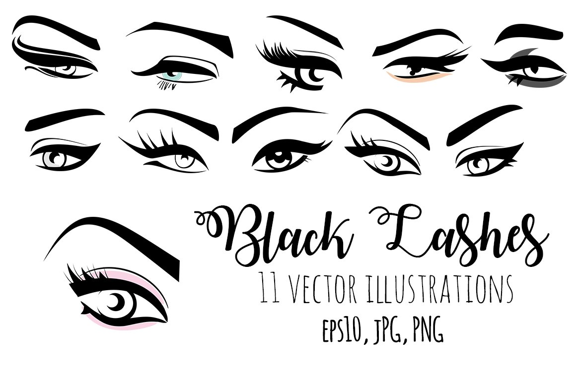 ea837bdfc13 Black Lashes Vector eyes set ~ Illustrations ~ Creative Market