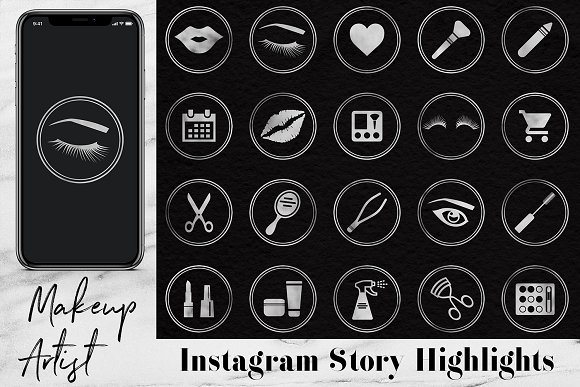 Silver Instagram Story Icons in Instagram Templates