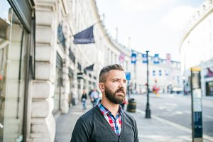 Hipster man in the streets of London, sunny day