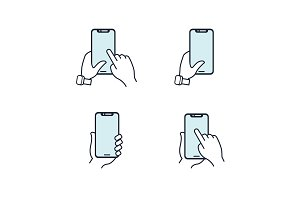 Hands holding smartphone. Flat line icon. Blue icon set.