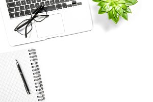 Office workplace flat lay Laptop JPG